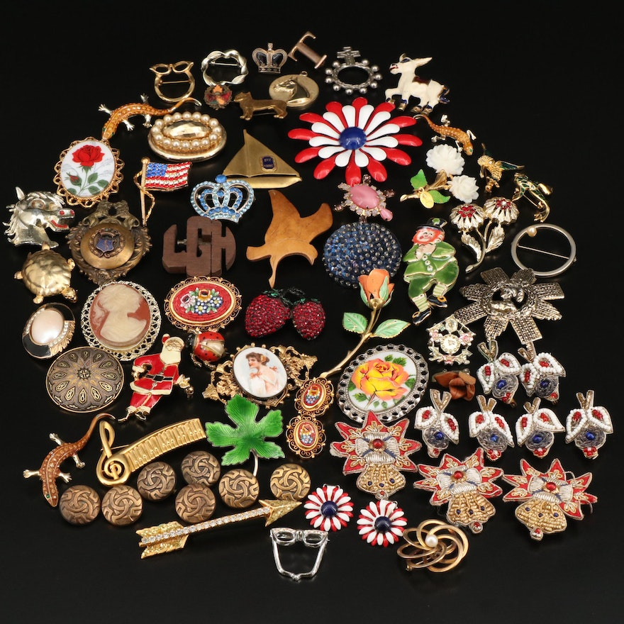 Vintage Costume Jewelry Featuring Pendants, Earrings and Fabric Brooches