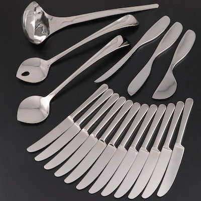 "Georg Jensen ""Copenhagen"" Dinner Knives, Cheese Knives, Salad Servers and Ladle"