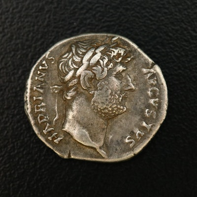 Ancient Roman Imperial AR Denarius of Hadrian, ca. 117 A.D.