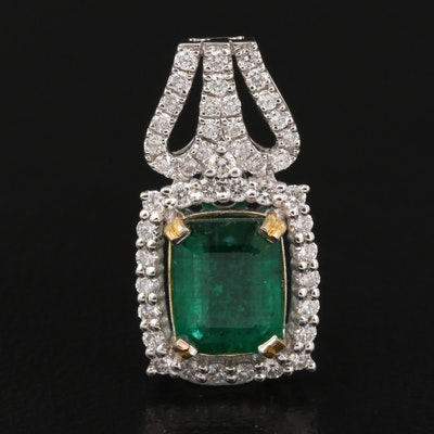 14K 1.41 CT Emerald and Diamond Pendant