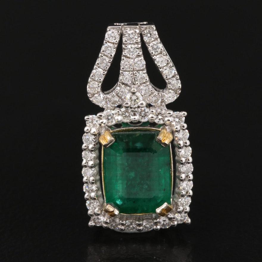 14K 1.41 CT Emerald and Diamond Pendant