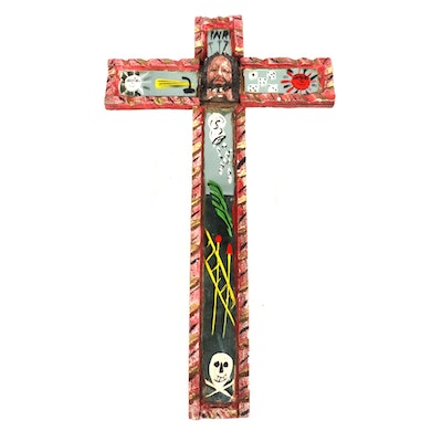 Folk Art Wood and Mirror Crucifixion, Mid to Late 20th Century
