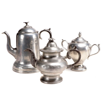 American Pewter Coffee Pot, Teapot and Sugar, Late 19th Century