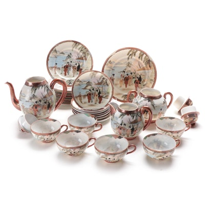 Japanese Hand-Painted Kutani Porcelain Tea Service