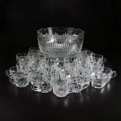 Pressed Glass Scalloped Rim Punch Bowl with Assorted Cups, Mid-Late 20th Century
