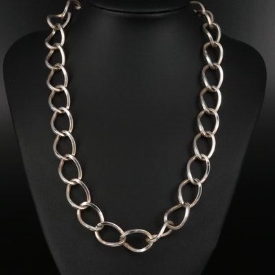 Mexican Sterling Silver Cable Chain Necklace