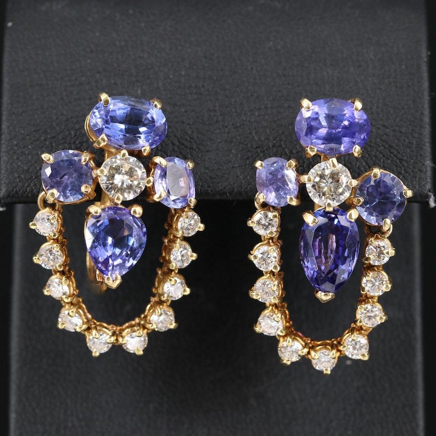 14K Tanzanite and 3.00 CTW Diamond Earrings