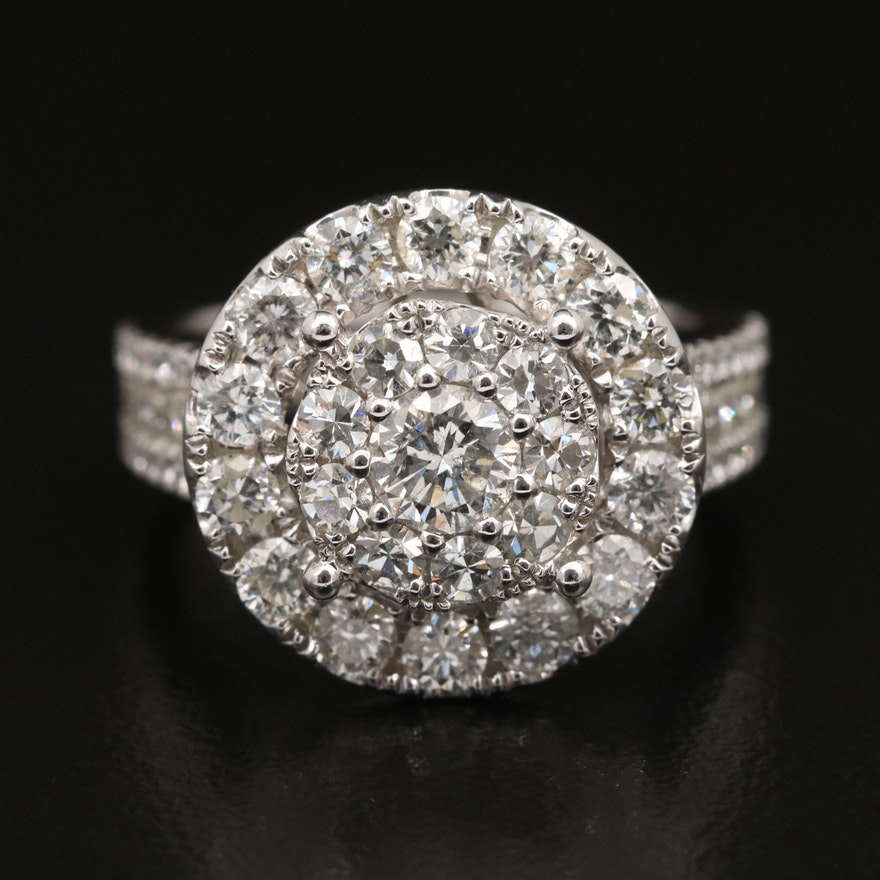 14K 2.82 CTW Diamond Cluster Ring with Halo