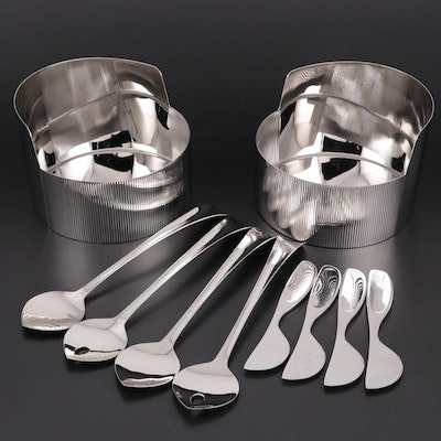 "Georg Jensen ""Urkiola"" Bowls, ""Alfredo"" Cheese Knives and ""Duo"" Salad Servers"