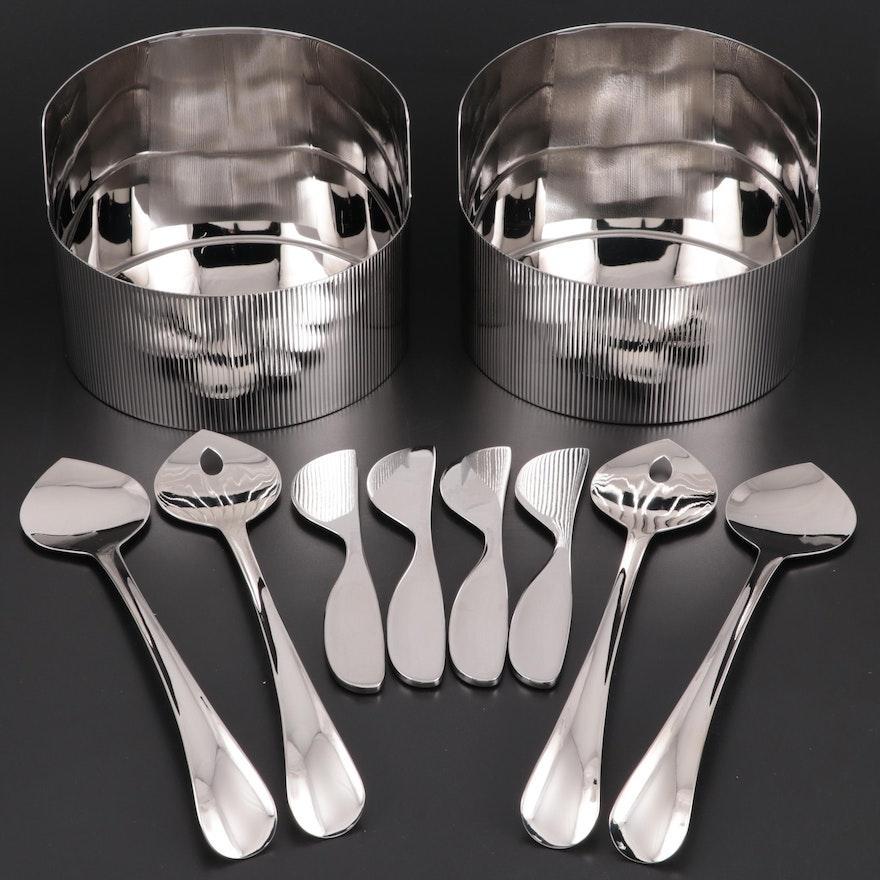 "Georg Jensen ""Urkiola"" Bowls, ""Alfredo"" Cheese Knives and ""Duo"" Salad Servers"