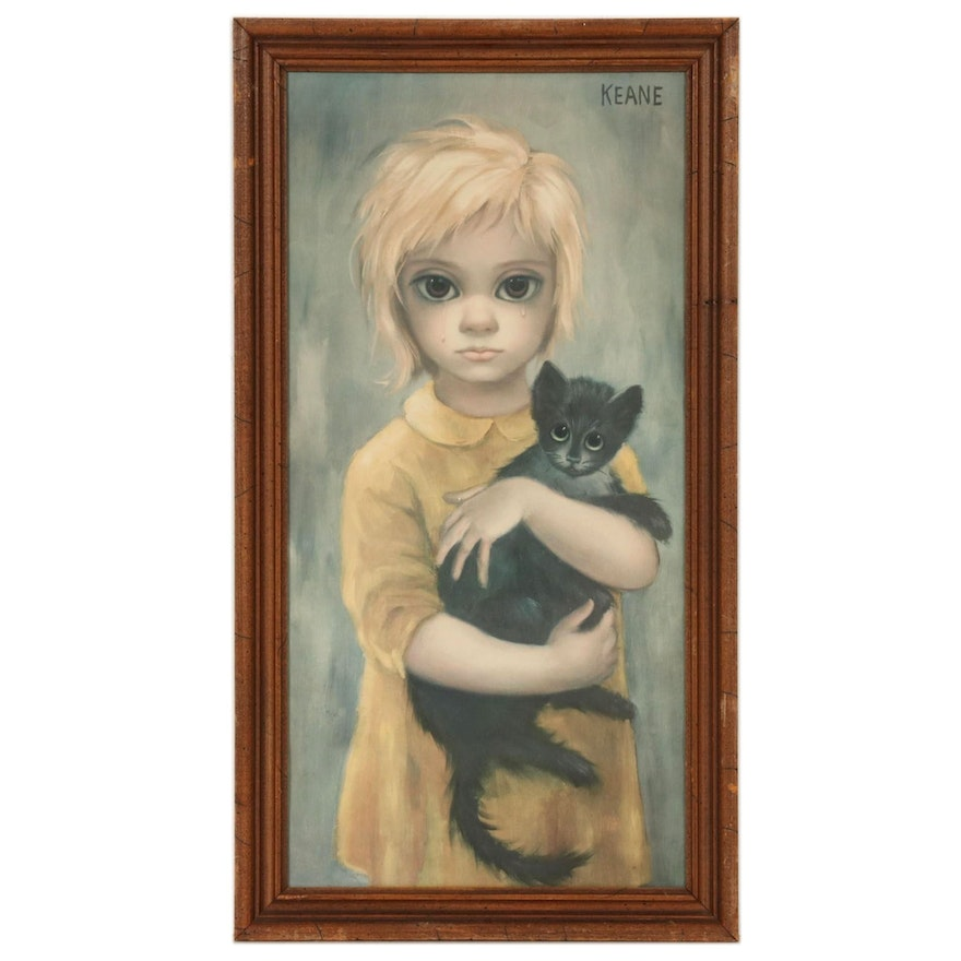 Offset Lithograph after Margaret Keane of Crying Girl With Cat