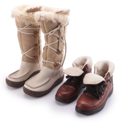 Børn Shearling and Leather Tall Boots with Air Command Leather Booties