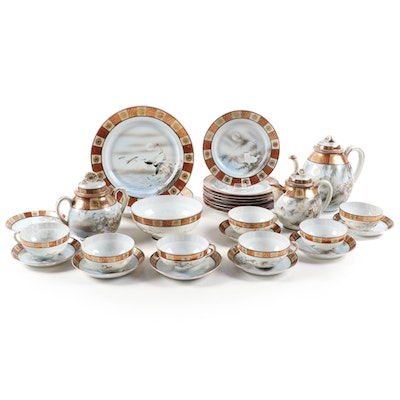 Japanese Kutani Porcelain Tea Set and Plates, Early to Mid 20th Century