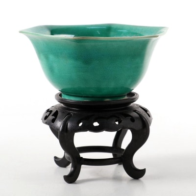 Japanese Green Glazed Hexagonal Bowl on Wood Stand