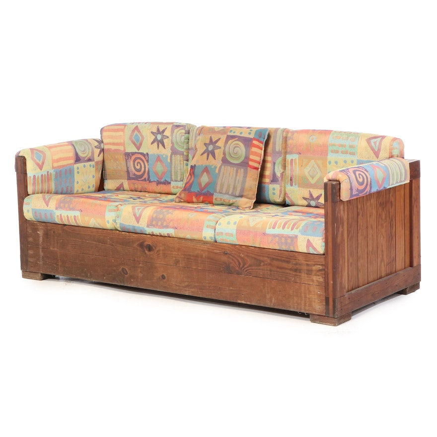"Pine Box-Form Sofa with ""Wow Confetti"" Cushions, Late 20th Century"