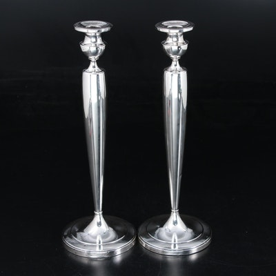 Pair of La Pierre Weighted Sterling Silver Candlesticks