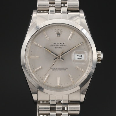 1983 Rolex Date 15000 Stainless Steel Automatic Wristwatch