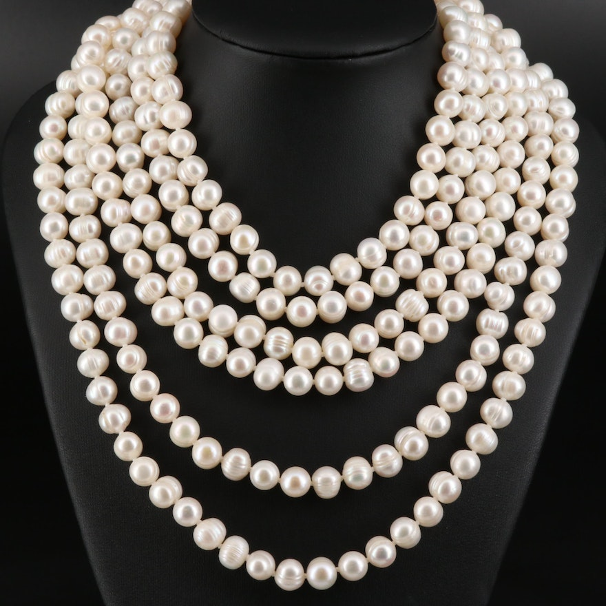 Endless Rope Length Knotted Pearl Necklace