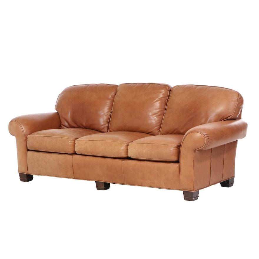 Sherrill Furniture Brown Leather Roll-Arm Sofa