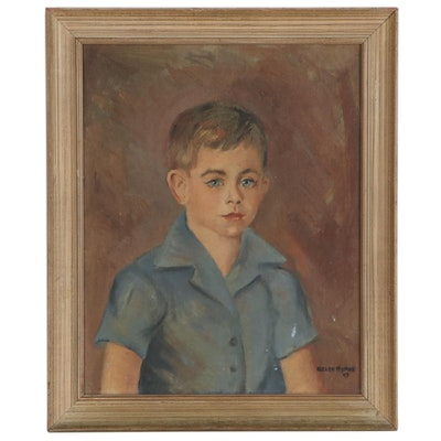 Helen Hyman Oil Portrait of Young Boy, 1949