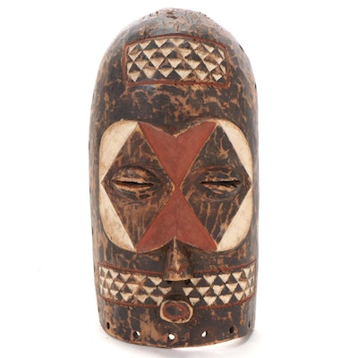 Goma Polychrome Carved Wood Mask, Central Africa