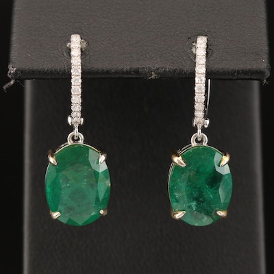 14K 7.11 CTW Emerald and Diamond Earrings