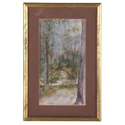 Woodland Watercolor Painting, Late 20th Century