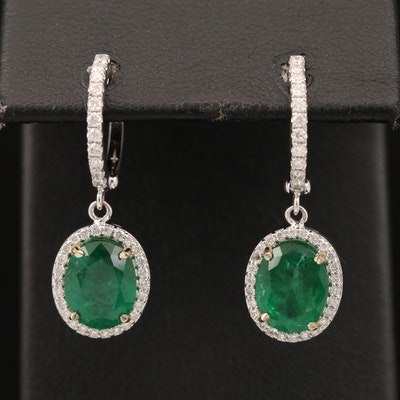 14K 3.20 CTW Emerald and Diamond Earrings