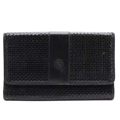 Fendi Black Woven Leather Front Flap Clutch
