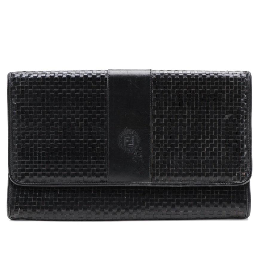 Fendi Black Woven Leather Front Flap Clutch