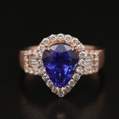 14K Rose Gold Tanzanite and Diamond Teardrop Ring