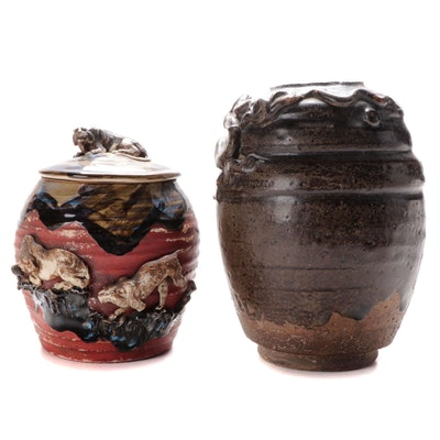 Japanese Raku Pottery Vase and a Vase and Cover