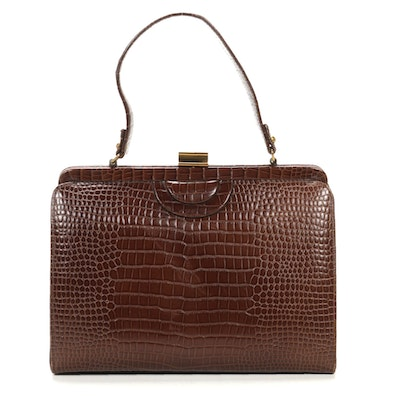 Crocodile Embossed Brown Leather Top Handle Bag