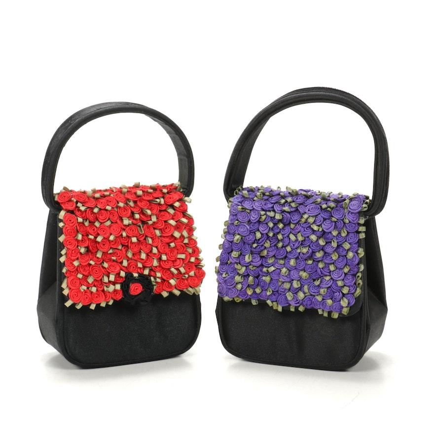 Julie Feldman Rosebud Satin Mini Evening Bags