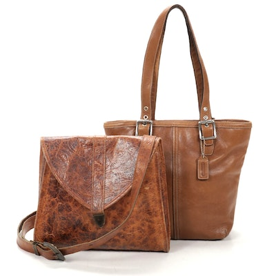 Coach Leather Buckle Shoulder Bag with Rolfs Leather Flap-Front Shoulder Bag