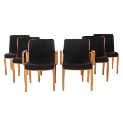 Six Bill Stephens for Knoll Modernist Laminated Oak Dining Chairs, dated 1973