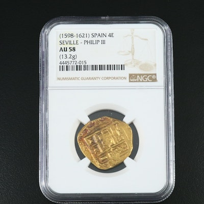 NGC Graded AU58 1598-1621 Philip III Spanish 4-Escudos Gold Coin