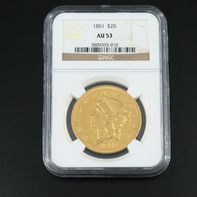 NGC Graded AU53 1851 Liberty Head $20 Gold Double Eagle