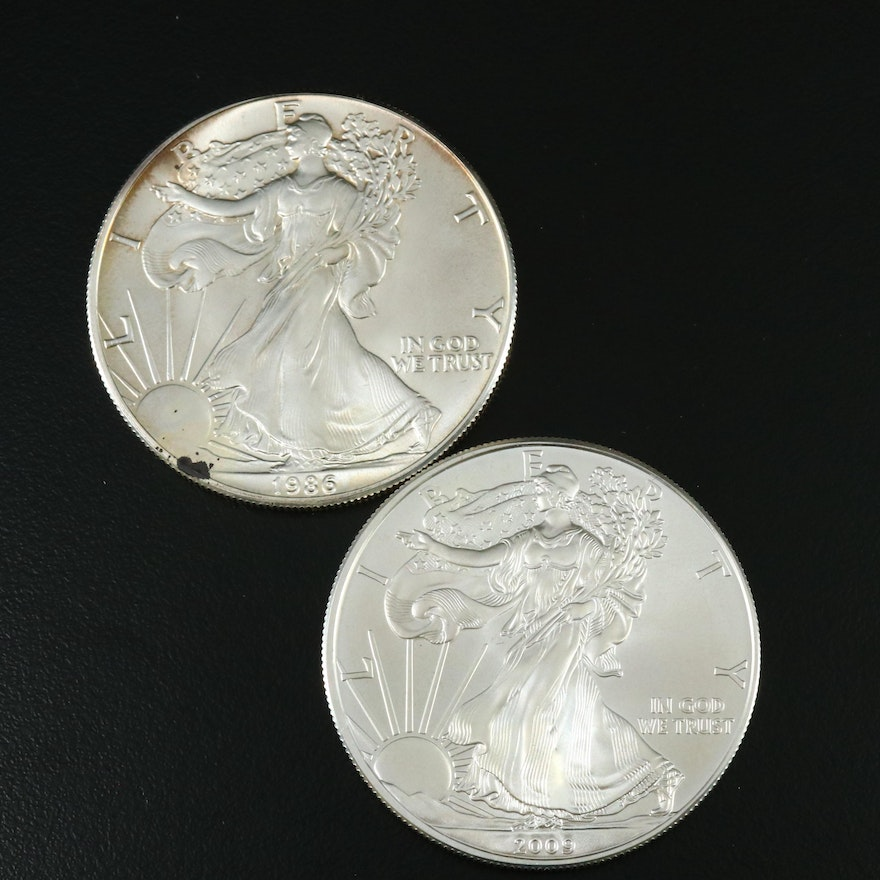 First Year Issue 1986 and 2009 Silver Eagle Bullion Coins