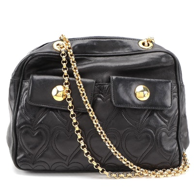Escada Shoulder Bag in Black Heart-Quilted Leather with Rolo Chain Strap