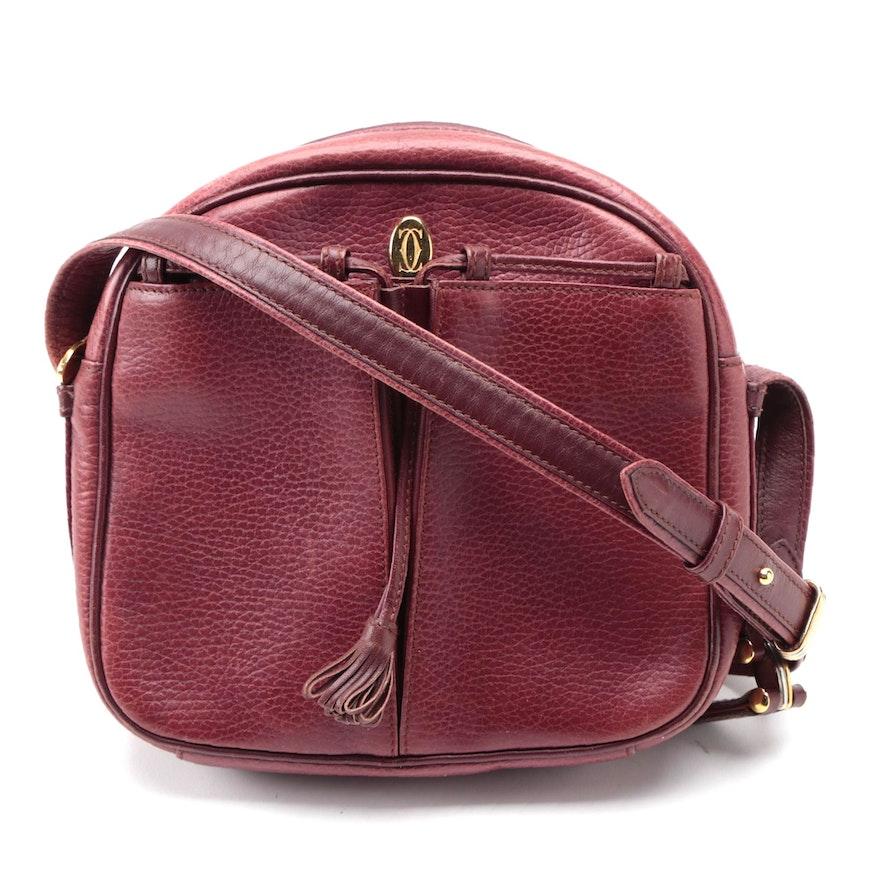 Cartier Les Must de Cartier Crossbody Bag in Burgundy Grained Leather