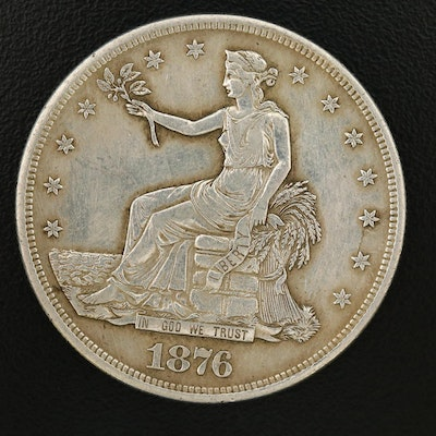 Key Date Low Mintage 1876-CC Trade Silver Dollar