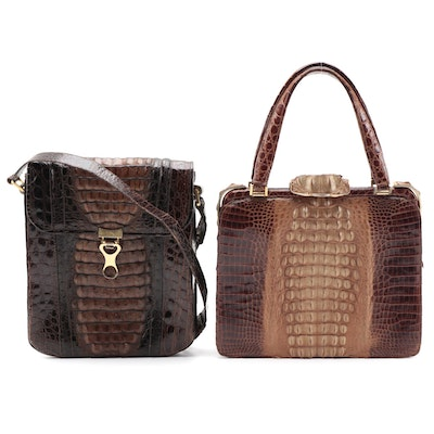 Crocodile and Caiman Reptile Skin Top Handle and Flap Front Shoulder Bags