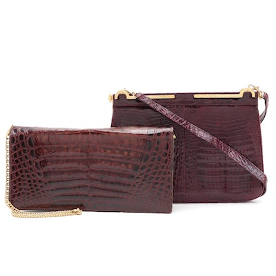 Burgundy Caiman Skin Top Handle and Clutch Bags