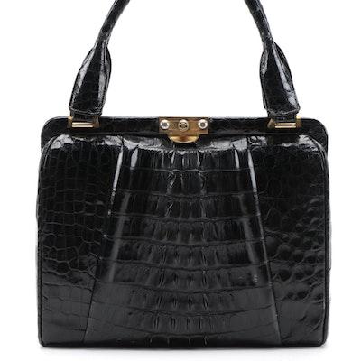 Black Alligator Skin Frame Top Handle Bag