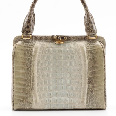 Reptile Skin Frame Top Handle Bag