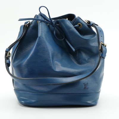 Louis Vuitton Noé Bucket Bag in Toledo Blue Epi Leather with Smooth Leather Trim