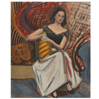 Joyce McDermott Oil Painting of Seated Figure, Mid-20th Century