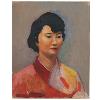 Joyce McDermott Oil Painting of Woman in a Kimono, Mid-20th Century