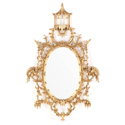 Chinese Chippendale Style Giltwood Mirror, Late 20th Century